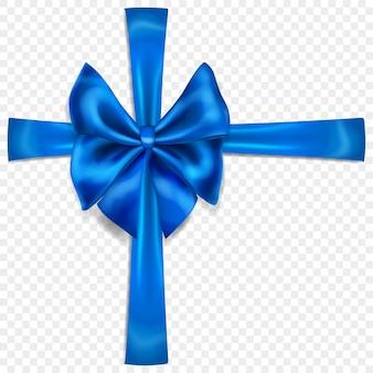 Bellissimo fiocco blu con nastri trasversali con ombra, isolato su sfondo trasparente. trasparenza solo in formato vettoriale