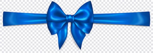 Bellissimo fiocco blu con nastro orizzontale con ombra su sfondo trasparente. trasparenza solo in formato vettoriale