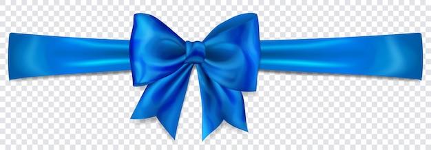 Bellissimo fiocco blu con nastro orizzontale con ombra su sfondo trasparente
