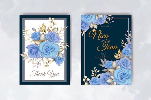 Bellissimo biglietto d'invito per matrimonio floreale blu