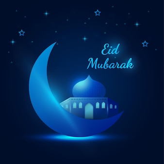 Bellissimo banner islamico festivo al neon blu eid mubarak con luna e moschea