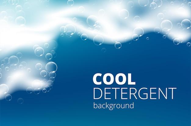 Bella schiuma di sapone realistica blu con bolle.