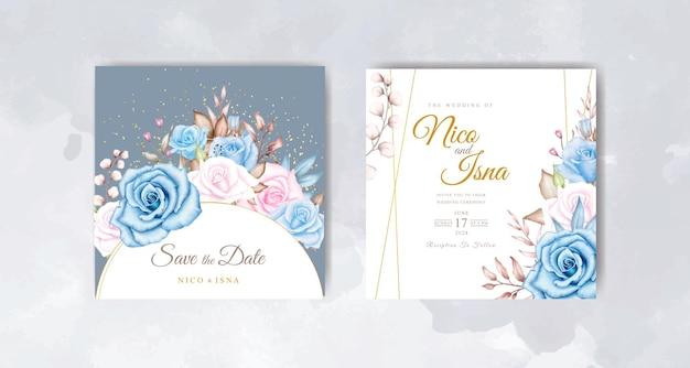 Bellissimo biglietto d'invito per matrimonio ad acquerello con rose blu e rosa tenue