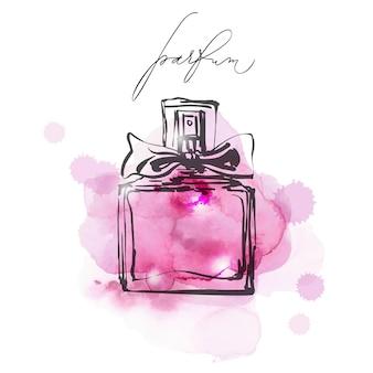 Una bella bottiglia di profumo su uno sfondo acquerello lilla profumo da donna acquerello vettoriale