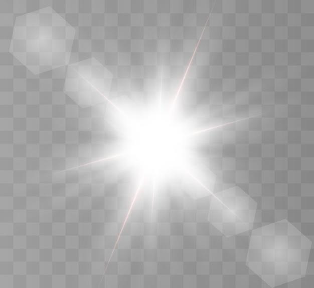 Bella luce brillante, stella bianca con raggi luminosi