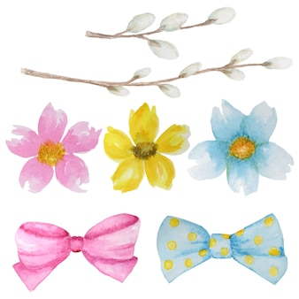 Bei fiori dell'acquerello rosa, gialli, blu luminosi, rami di salice e fiocco. millefiori aquarelle