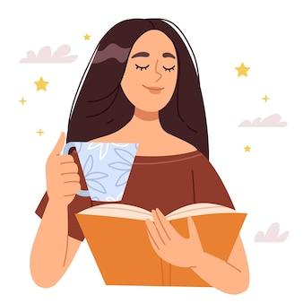 Bella ragazza bruna sogna mentre legge un libro