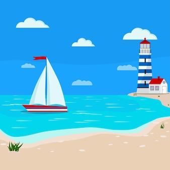 Bella calma vista sul mare oceano blu, nuvole, costa di sabbia con erba, barca a vela, faro.