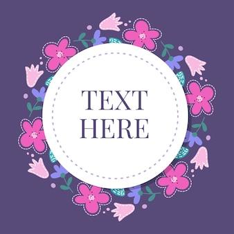 Bella carta con una corona rotonda di diversi fiori del giardino vintage. cornice in bianco e nero delle rose, ortensie e rosa canina su sfondo menta. vettore