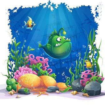 Bellissimo cartone animato divertente pesce verde, coralli e barriere coralline colorate e alghe sulla sabbia. illustrazione vettoriale del paesaggio di mare.