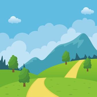 Bellissimo cartone animato paesaggio rurale con strada attraverso la collina.