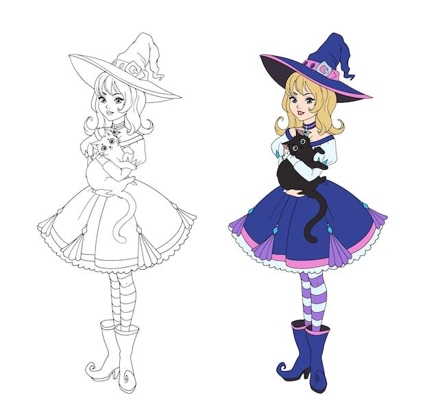 Bella strega del fumetto che tiene gatto nero. capelli biondi, vestito blu e grande cappello.