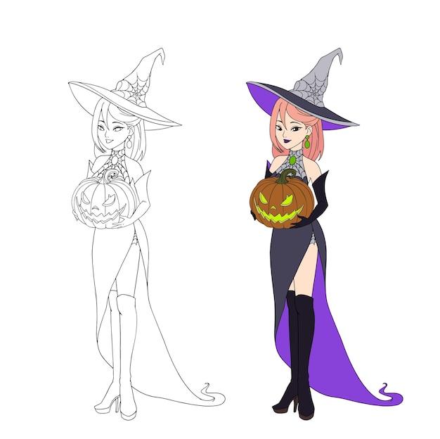 Bella strega del fumetto che tiene la zucca di halloween