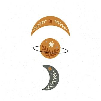 Bellissimo set celeste con pianeta stelle luna