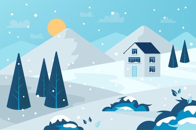 Bellissimo sfondo di paesaggio invernale freddo Vettore Premium