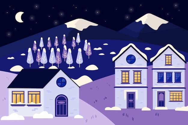 Bella carta da parati paesaggio invernale freddo