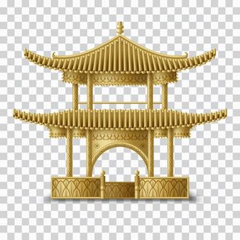 Bella pagoda cinese nei colori dorati. edificio tradizionale. modello creativo per biglietti di auguri, banner, inviti. illustrazione
