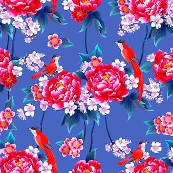 Bellissimo motivo cinese senza cuciture con peonia e fiori di ciliegio per abito primaverile