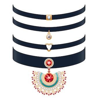Belle collane girocollo impostare illustrazione. gioielli con pietre preziose e pendenti in oro. illustrazione. buono per gioielleria di moda di bellezza.