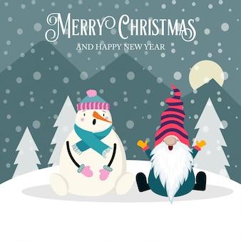Bella cartolina di natale con gnome e pupazzo di neve