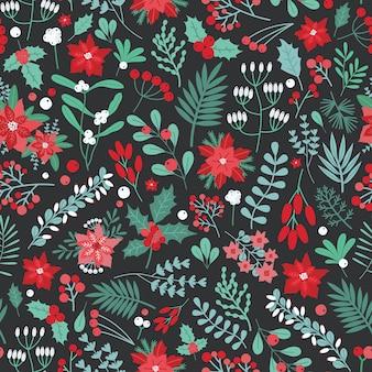 Bello reticolo senza giunte floreale di natale con foglie di agrifoglio, bacche e altre piante e fiori verdi e rossi