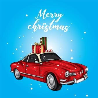 Bellissima macchina natalizia con regali