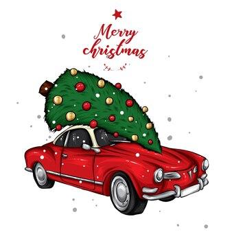 Bellissima macchina natalizia con albero