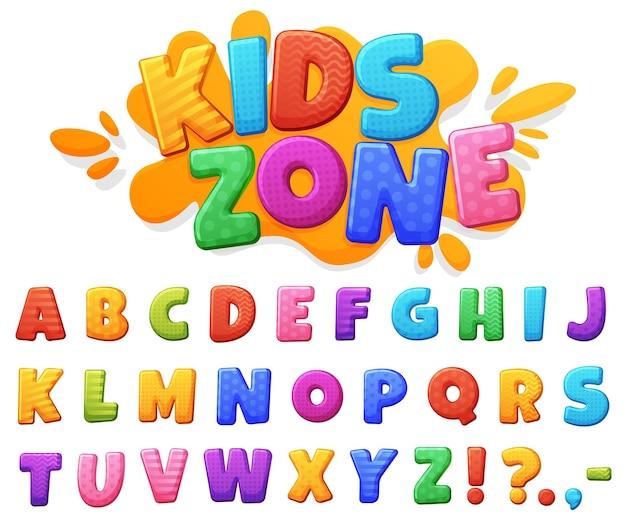 Carattere di bei bambini allegri colorati. lettere paffute dai colori vivaci.