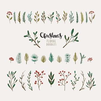 Bellissimi elementi floreali colorati per decorazioni natalizie bacche vischio fiori invernali