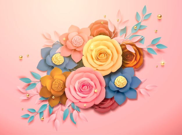 Bella boutique di fiori di carta colorata e decorazioni di perline dorate nell'illustrazione 3d