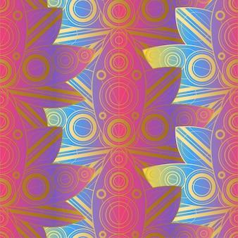 Bellissimo motivo colorato senza cuciture con ornamento naturale. doratura fiori di loto sfondo. illustrazione di vettore del modello della ninfea tropicale. decorazione di moda in stile indiano vintage