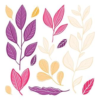 Belle foglie colorate d'autunnali. illustrazione piatta.