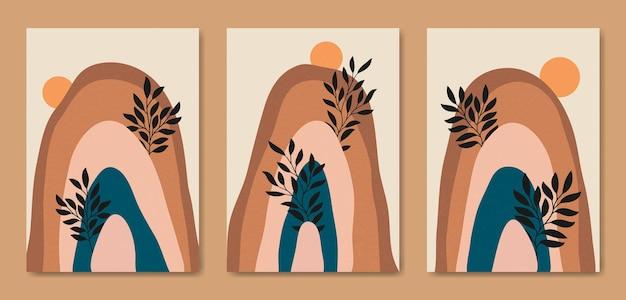 Belle illustrazioni di poster di paesaggio minimalista estetico contemporaneo