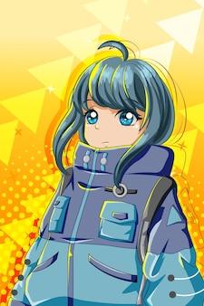 Ragazza bella e carina con l'illustrazione del fumetto del personaggio della giacca grande