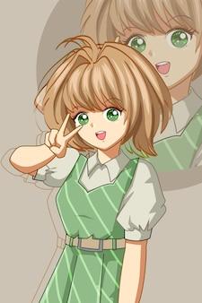 Una ragazza bella e carina con l'illustrazione del fumetto del vestito