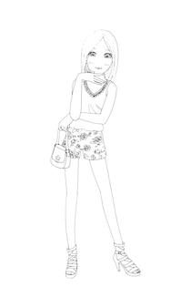 Belle ragazze carine disegnate a mano felice giovane ragazza adolescente cartone animato doodle donne vettore isolato women