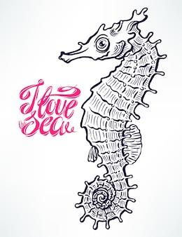 Bellissimo cavalluccio marino carino schizzo. illustrazione disegnata a mano