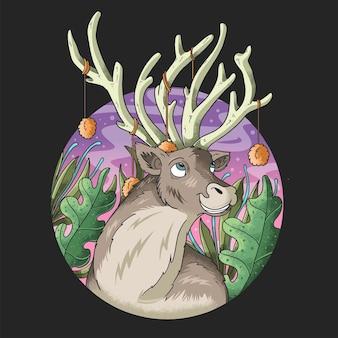 Belle corna di cervo nell'illustrazione della giungla