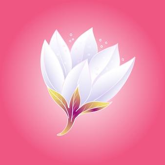 Bocciolo di loto bello, delicato e fresco con petali bianchi su sfondo rosa intenso. illustrazione.