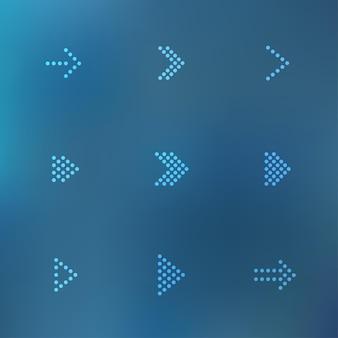 Belle icone digitali freccia vettore punteggiato impostate su sfondo sfocato mesh