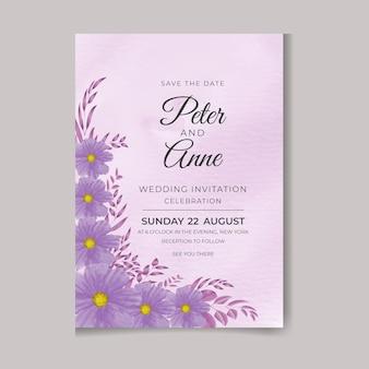Bellissimo acquerello femminile dipinto a mano digitale premium floreale e foglie biglietto d'invito per matrimonio
