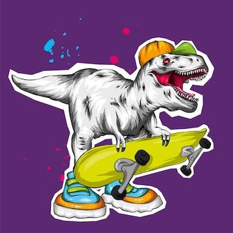 Un bellissimo dinosauro con un berretto e con uno skateboard, pattinatore.