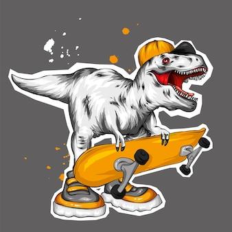 Un bellissimo dinosauro con un berretto e uno skateboard.