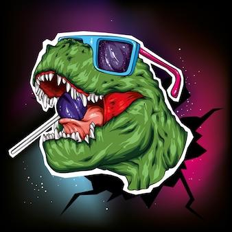 Bella illustrazione di dinosauro per la stampa sui vestiti