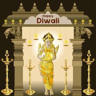 Bellissimi saluti diwali con disposizioni di lampade tradizionali