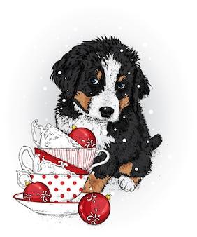 Bellissimo cane con tazze di natale