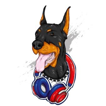 Bellissimo cane con le cuffie.