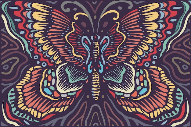 Beautiful eastern mandala butterfly vintage colors