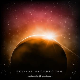 Bella sfondo eclipse con scintilla Vettore Premium