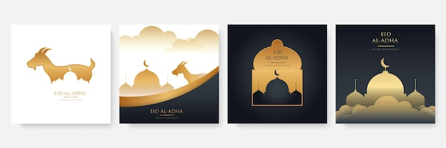 Bellissimo design del banner del festival di eid al adha. eid al adha celebrazione della festa musulmana Vettore Premium